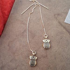 Handmade gold owl threaders